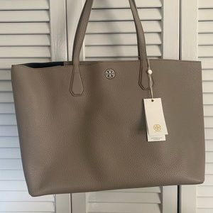 Tory Burch tote. French grey pebbled leather